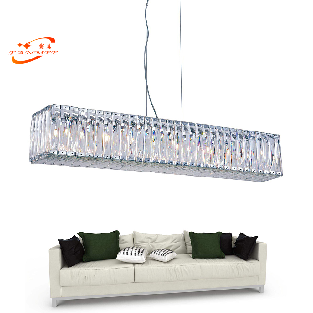 Rectangular Chandelier Crystal Light Modern Linear Cristal Lighting Fixture Luxury Hanging Lamp LED Chandeliers