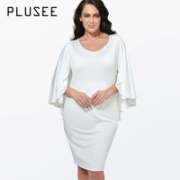 Plusee Women Plus Size Dress Black Bodycon Batwing Sleeve White Home Big Size Red Fashion Sundress Party Sexy Women Summer Dress