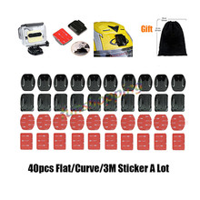 Gopro Accessories sticker 10X Curved 10X Flat Adhesive Mount 40pcs set surface fixed 3M VHB for GoPro4 3+ Xiaomi Yi SJCAM SJ4000