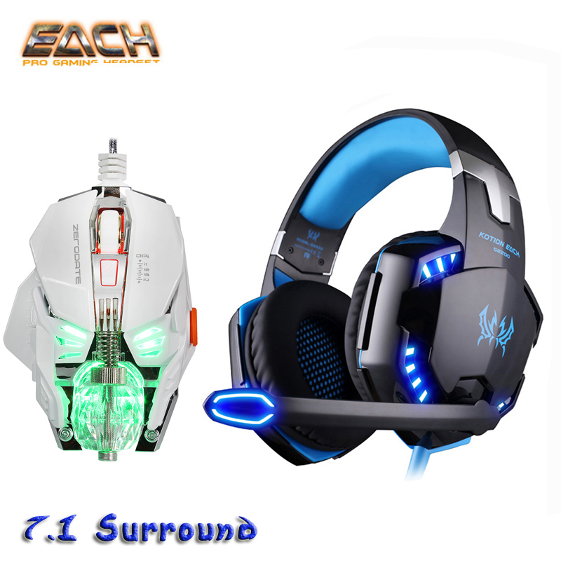 Kotion Each G2200 USB Earphone Gaming Professional Headset 7.1 Stereo Wired headphones Surround LED Bass Computer Player Mouse kotion each headset gamer professional headphones pc gaming bass stereo noise isolation gaming headset with mic led light g1000