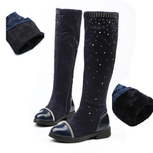 Winter Baby Girls High-leg Snow Boots Parent-child shoes Princess Elegant Rhinestone Plush Warm Children Shoes Female Autumn