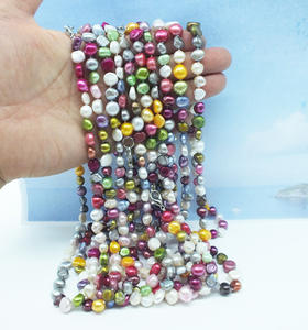 Baroque Pearl Necklace Wholesale Freshwater 18-Inches. 50PCS 8MM Free-Delivery Mixed-Color