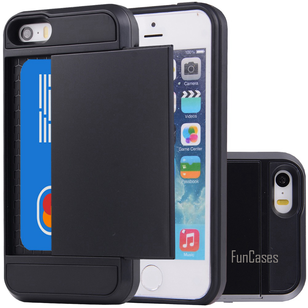 For Apple iPhone 5S 5 SE Case Hybrid Armor Hard PC+TPU 2 In 1 Card Slider With Card Storage Cover Cases For iPhone 5 5S SE