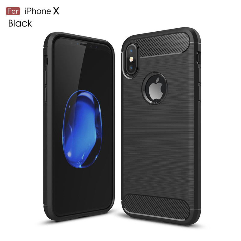 For Iphone X XR XS Max Carbon Soft TPU Phone Case For Iphone 8 7 6 6s Plus 5 5S SE Shockproof Silicone Back Cover Full Protector iPhone 8