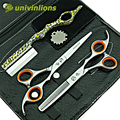 univinlions 6 inch small teeth micro serrated hairdressing scissors hairdresser professional hair scissors barber shears