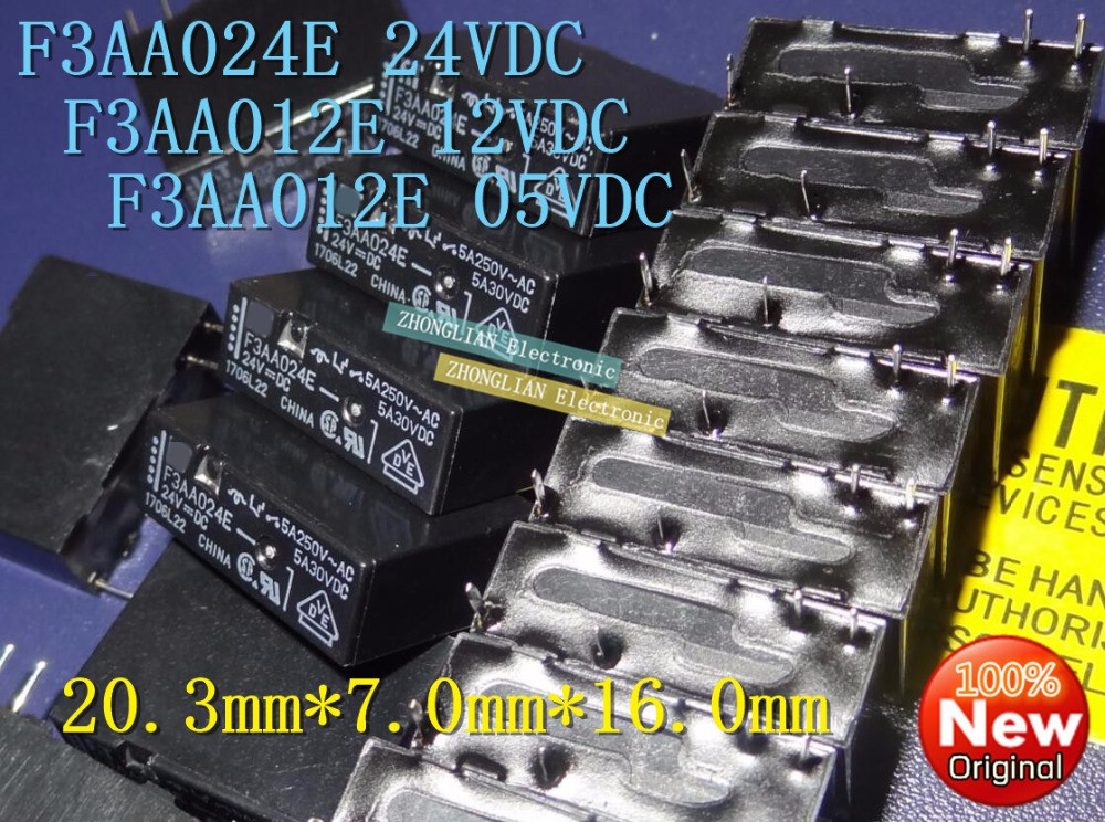 100pcs/Lot Relay F3AA024E 5V 24V F3AA012E original genuine F3AA005E 12V 5V/12V/24V цена и фото