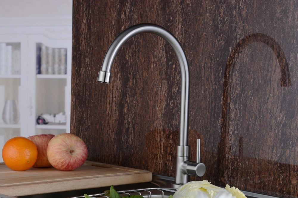 2015 New Stainless Steel Cold Only Kitchen Sink Tap Goose Neck Single Handle Kitchen Water Tap