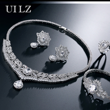 UILZ Luxury Cubic Zirconia Diamond Necklace/ Earrings/ Bracelet Wedding Jewelry Sets for Fashion Bridal Bijoux BLSP218
