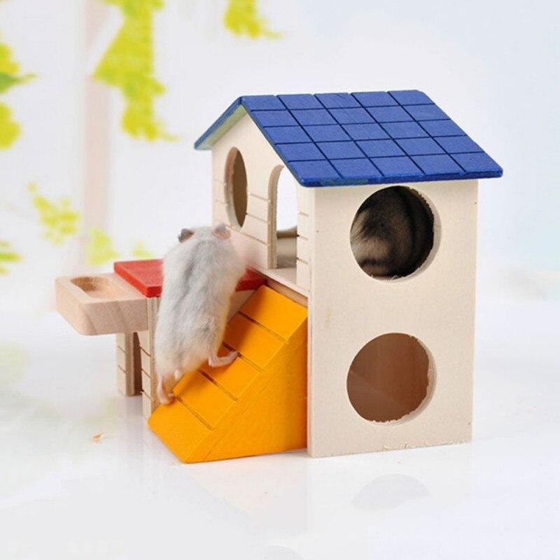 Natürliche Holz Faltbare Hamster Haus Hamster Spielzeug Hamster Käfig Dekoration Hamster Kleine Haustiere Ratten Haus