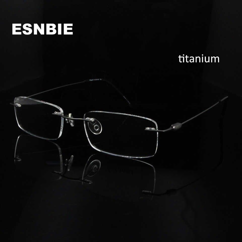 b2e0d932d ESNBIE Ultra-light Slim Optical Glasses Frame Titanium Men Rimless Frame  Myopia For Male Light