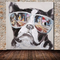 Mintura Frameless Paintings Hand Painted Dog Animal Oil Painting On Canvas Wall Art Picture For Living Room Home Decor Artwork