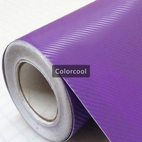 Purple 3D carbon fiber vinyl film car sticker for automobile and electronics with Air Bubble Free For Car Wrap