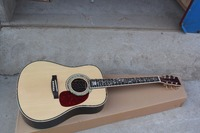 Guitar factory custom 45 acoustic guitar life tree inlay fret solid spruce wood top guitar With fisherman with hard case