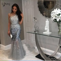 Luxury Crystal Gray Long Mermaid Prom Dresses Beaded Dubai Formal Evening Party Dress Prom Gowns Robe De Soiree Abendkleider