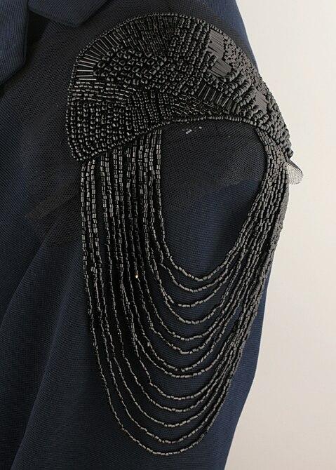 Retail & Wholesale 2pcs/pair Elegant Brand New Design Black Beaded Tassel Epaulet Badge Free Gift Party Decoration