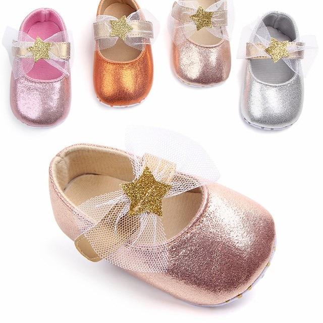 כוכב עור תינוקת שמלת נעלי יילוד בנות ראשון הליכונים עם קשת גדולה תינוקות פעוט ילדה עריסה סניקרס 0 -18 חודשים