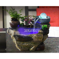 Resin Rockery Water Fountain Crystal Ball Desktop Decorative Miniature Chinese Fengshui Ornaments Indoor Home Office Desk Decor