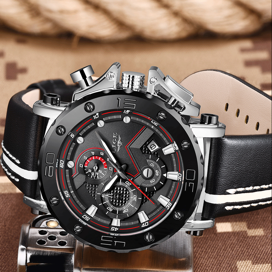 HTB1ZWlNafvsK1Rjy0Fiq6zwtXXaz New LIGE Mens Watches Top Brand Luxury Big Dial Military Quartz Watch Casual Leather Waterproof Sport Chronograph Watch Men