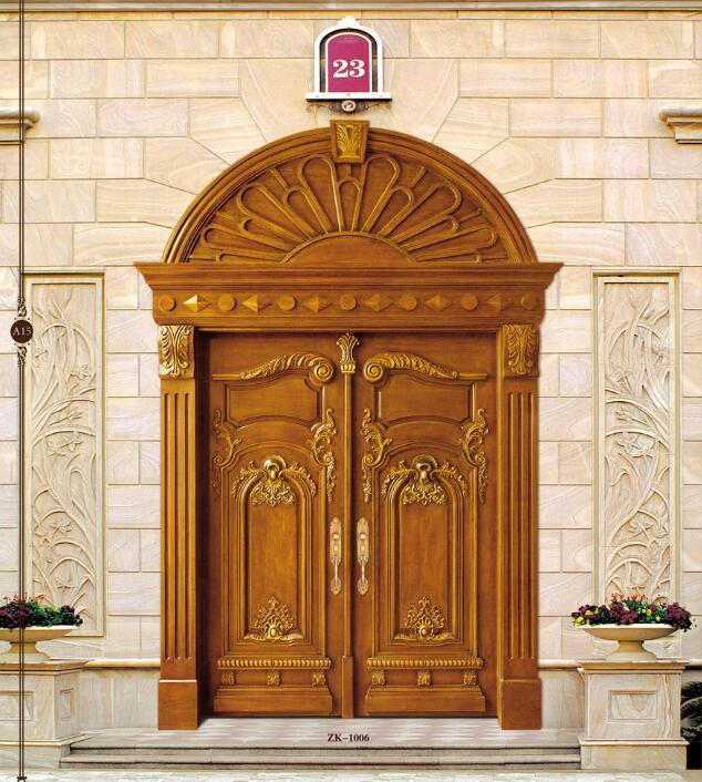 2019 New Design Swing Doors Interior Solid Wood Doors Antique Wooden Entry Doors ZK1006