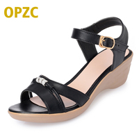 OPZC 2018 new classic women's genuine leather casual joker sandals simple elegant charming office ladies a good choice free ship