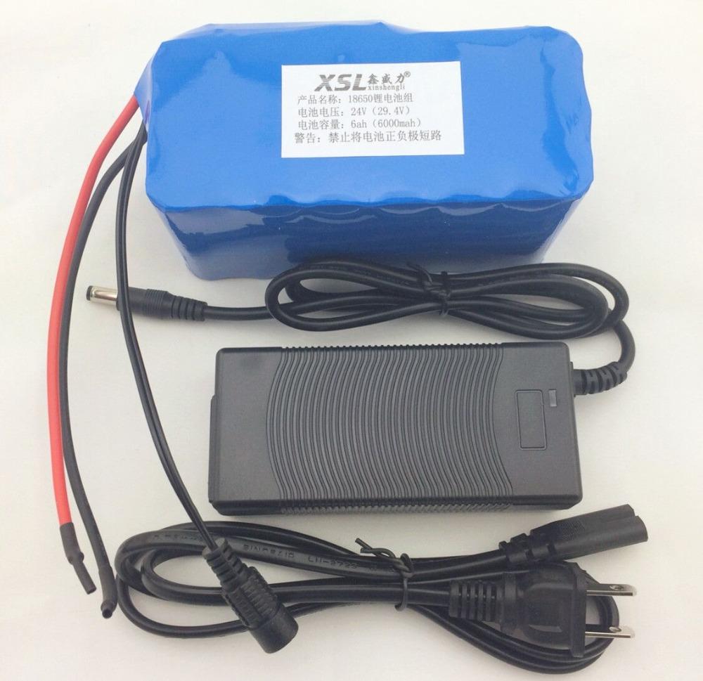 Prix pour 24 6Ah 7S3P 18650 Batterie Au Lithium 29.4 V 6000 mAh vélo électrique cyclomoteur/électrique/lithium-ion batterie + chargeur