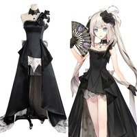 Fate/Grand Order Rider Marie Antoinette Black Ball Gown Dress Cosplay Costume full set
