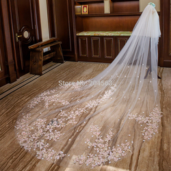 4 meters Bridal Veil White/Ivory Two-Layer Wedding Veil Mantilla Wedding Accessories With Lace Pink Flowers With Comb 809