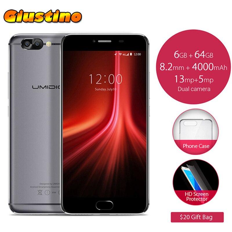 Original Umidigi Z1 5.5 inch FHD MTK6757 Octa Core Android 7.0 6GB+64GB 13MP Dual Rear Cam 4G LTE Smartphone