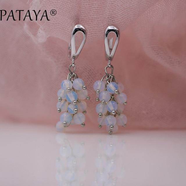 PATAYA New Arrivals Original Design Round Small Moonstone Natural Stone Dangle Earrings Women True White Gold Unique Jewelry