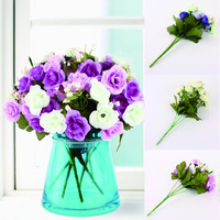 Hot High Quality 6 Bunch 15 Heads Spring Silk Flowers Artificial Rose Wedding Floral Decor Plant