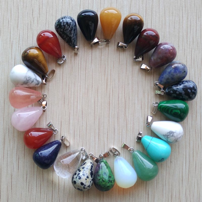 Free shipping 50pcs/lot wholesale assorted mixed natural stone water drop  pendants Charms fit Necklaces jewelry making-in Pendants from Jewelry & Accessories