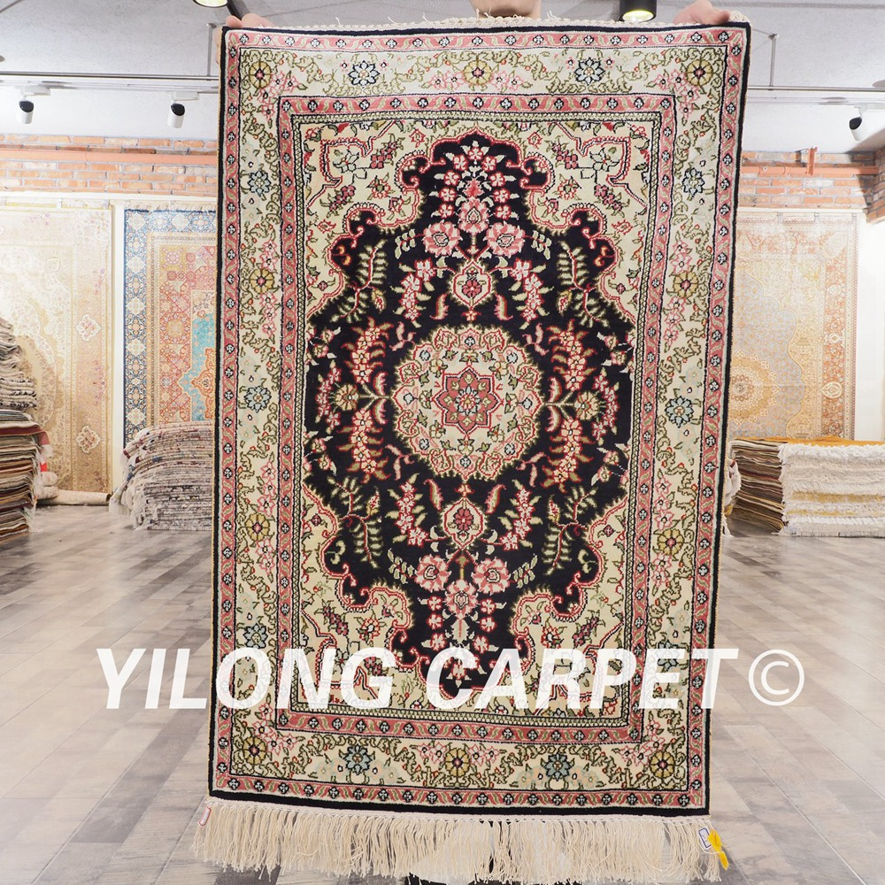 YILONG 2'x3' Handmade Turkish Silk Carpets Floral Qom