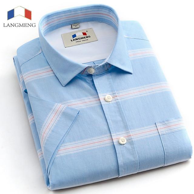 Langmeng 2016 лето 100% хлопок Мужская с коротким рукавом повседневная Рубашка Slim Fit Человек полосатые Рубашки Социальной Masculina Homme