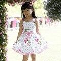 Платья новая мода лето девочка одежды детей цветы хлопка платье одежда