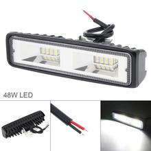 6 Inch 48W 6000K 12V-24V  Waterproof Off Road Led Light Bar Auto Car Working for Truck Motorcycle Boat SUV
