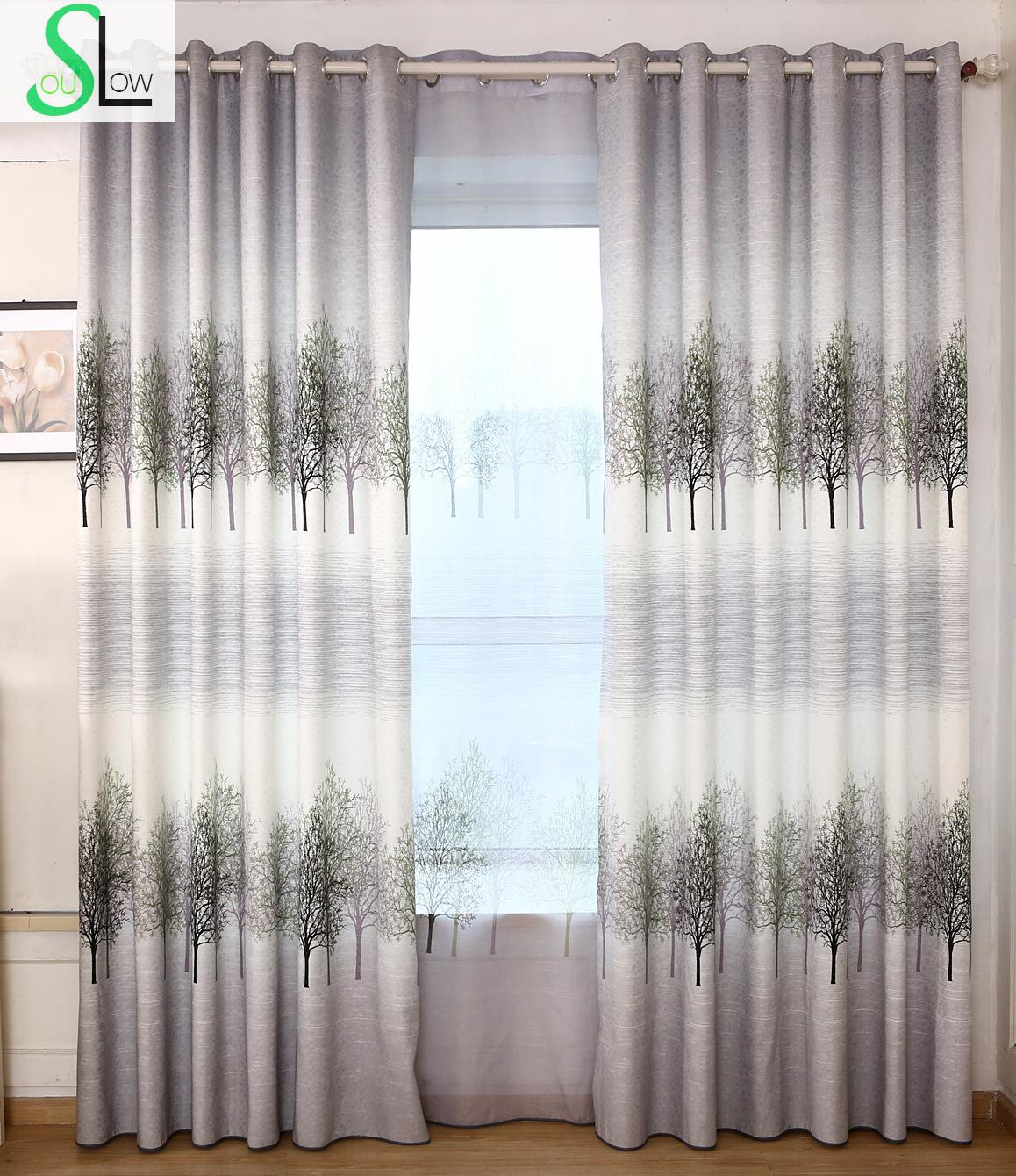 Slow Soul Gray Gold Rich Tree Jacquard Curtains Curtain