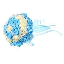 12blue Bridal Bouquet Foam Roses Artificial Flowers Luxury Rhinestones Wedding Decoration Handmade Silk Ribbon