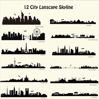 12City Lanscape Wall Sticker Modern City Skyline Wall Decal DIY Home Wall Decoration Removable Cut Vinyl