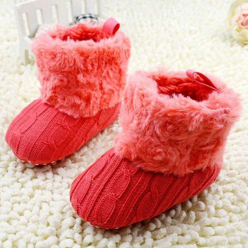 Zapatos de bebé Bebés Crochet Knit Fleece Boots Niño de niña Niño de lana Zapatos de cuna de nieve Botines de invierno