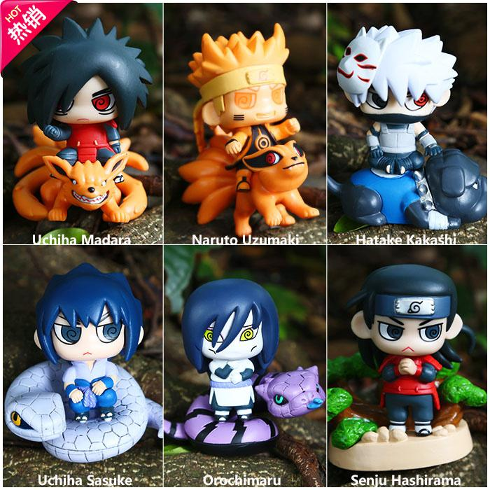 Naruto Cosplay Hatake Kakashi Uchiha Sasuke 8.5cm/3.3'' Q Version Boxed PVC Action Figures Toys Model Garage Kit 6Pcs/Set naruto cosplay costume boots sasuke shoes