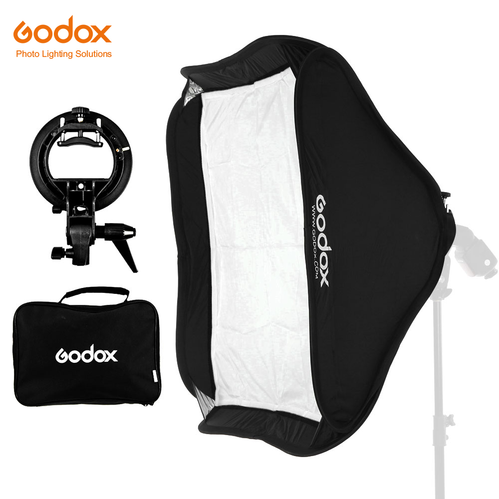 GODOX 40x40/50x50/60x60/80x80cm Softbox with S Type Bracket Stable Bowens Mount Flash Bracket Mount Foldable Softbox Kit(China)