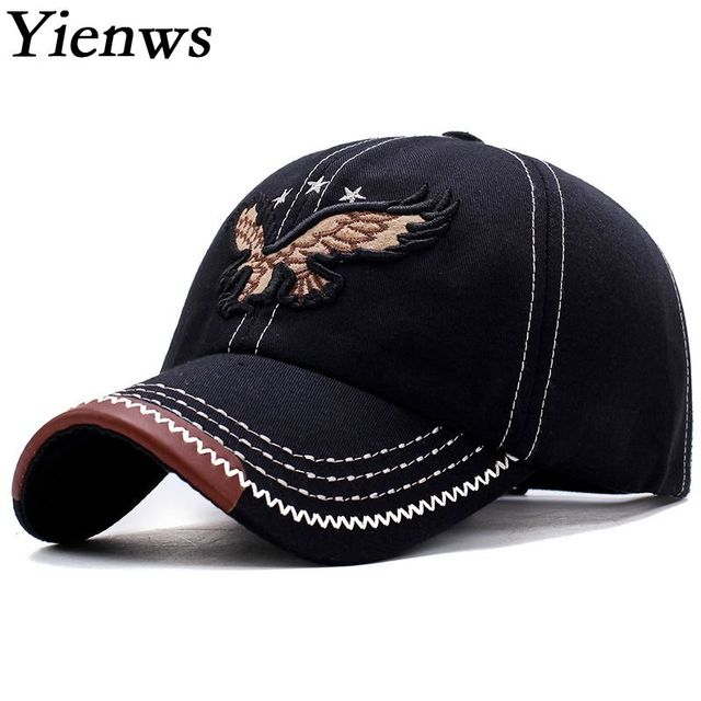 962fe49514cf3 Yienws Curved Brim Baseball Caps Men Bones Trucker Hats Eagle Gorra Beisbol  Hombre Adjustable Dad Hats Black Coffee Navy YIC049