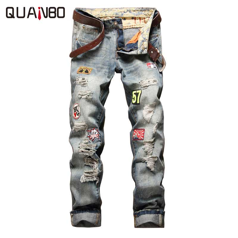 2017 New Fashion Patch Hole Distressed Jeans Mens Slim