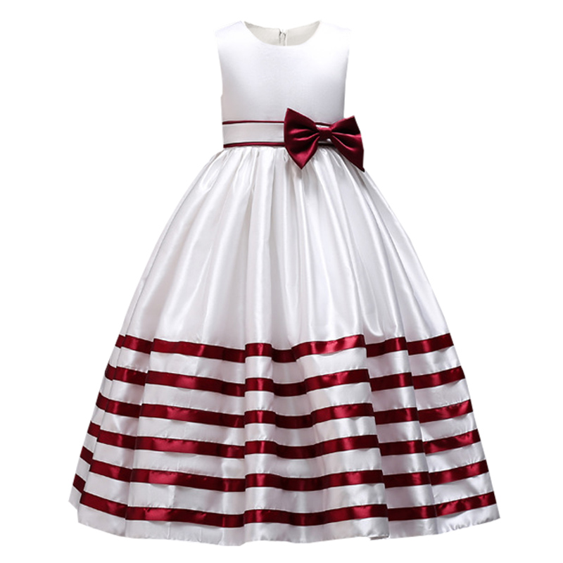 Striped bow   flower     girl     dress   baby evening wedding birthday   girls     dress   first communion princess costume ladies tutu   dress