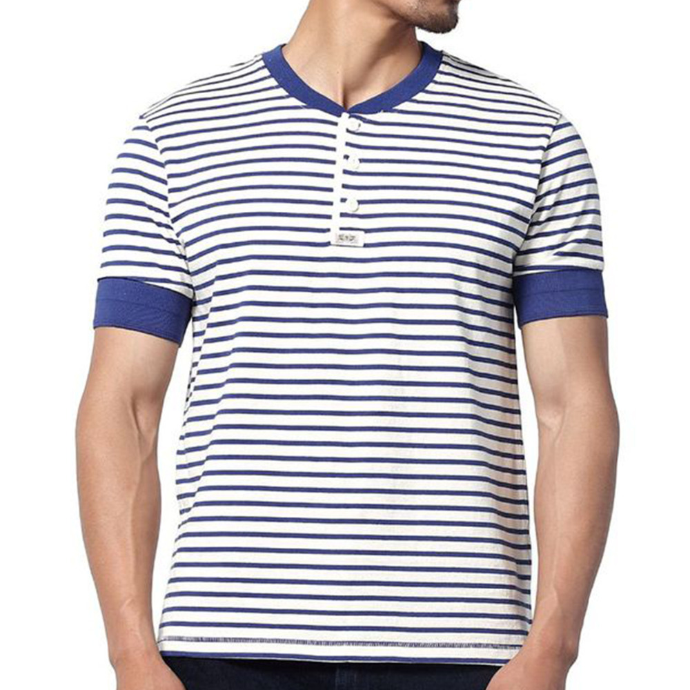 2018 natural cotton navy stripe blue tshirt men o neck. Black Bedroom Furniture Sets. Home Design Ideas