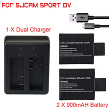 2pcs sj4000 sj5000 sj6000 battery + Dual battery charger for SJCAM sj4000 5000 camera accessories