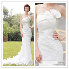 wedding dresses mermaid  with crystal 2013 new royal train Slim waist fish tail lace flower zipper type tube top dress