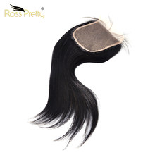 5x5 lace Closure Straight Brazilian Natural black Human Hair Closure Light Brown Transparent Lace Remy Ross Pretty Product(China)