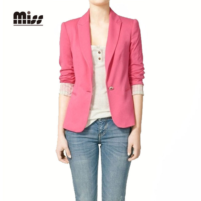 1737e2bd9572 MISS XXL 2015 Pink Blazer Women Office Suits Pocket Coat Autumn Ladies  Jacket Business Femme Blazers Yellow Plus Size T4B03