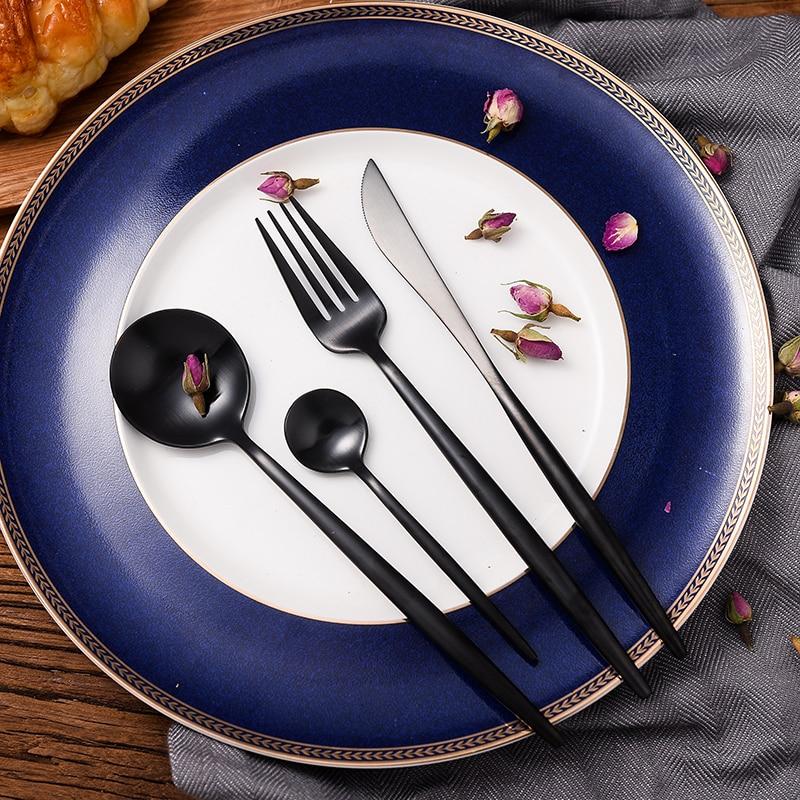 KuBac Hommi 24Pcs Stainless Steel Western Food Tableware Sets Black Cutlery Luxury Matte Fork Teaspoon Knife Craft